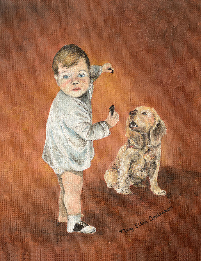 Dog Painting - The Guilty Ones by Mary Ellen Anderson