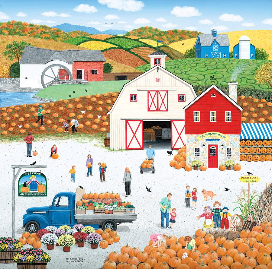 Folk Art Painting - The Harvest Moon by Wilfrido Limvalencia