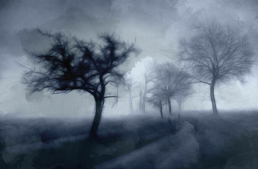 Road Tree Trees Haunted November Grey Gray Cloud Clouds Landscape Painting Oil Pencil Drawing Expressionism Impressionism Dark Mystic Cold Nature Trip Journey Painting - The Haunted Road by Stefan Kuhn