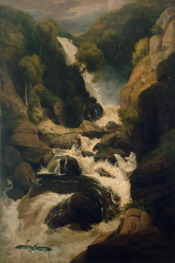 Waterfall Painting - The Heron Shoot, C.1800 by English School