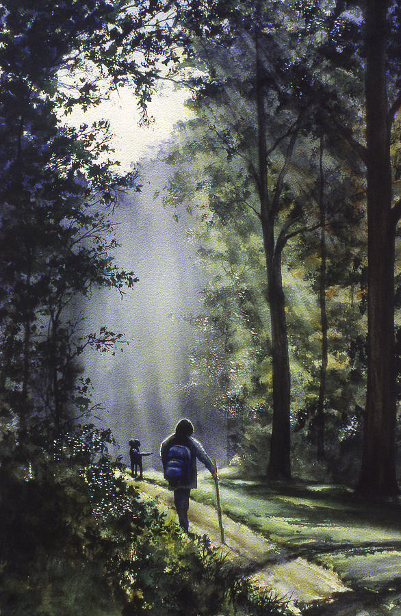 The Hiker Painting  - The Hiker Fine Art Print