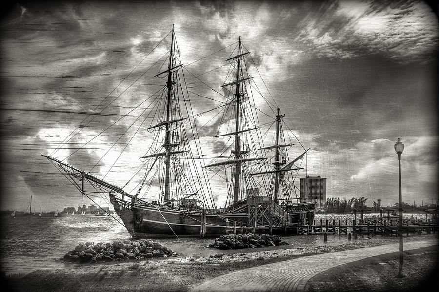 The Hms Bounty In Black And White Photograph