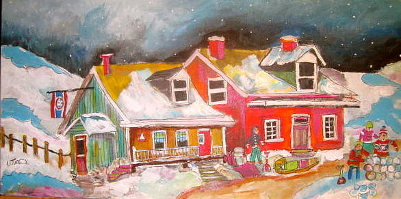 Quebec Houses Painting - The Hockey Nation by Michael Litvack