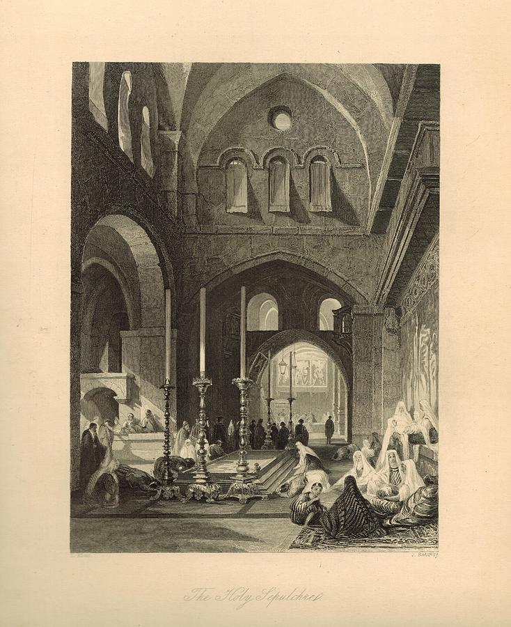 The Holy Sepulchre 1886 Engraving With Border Painting  - The Holy Sepulchre 1886 Engraving With Border Fine Art Print