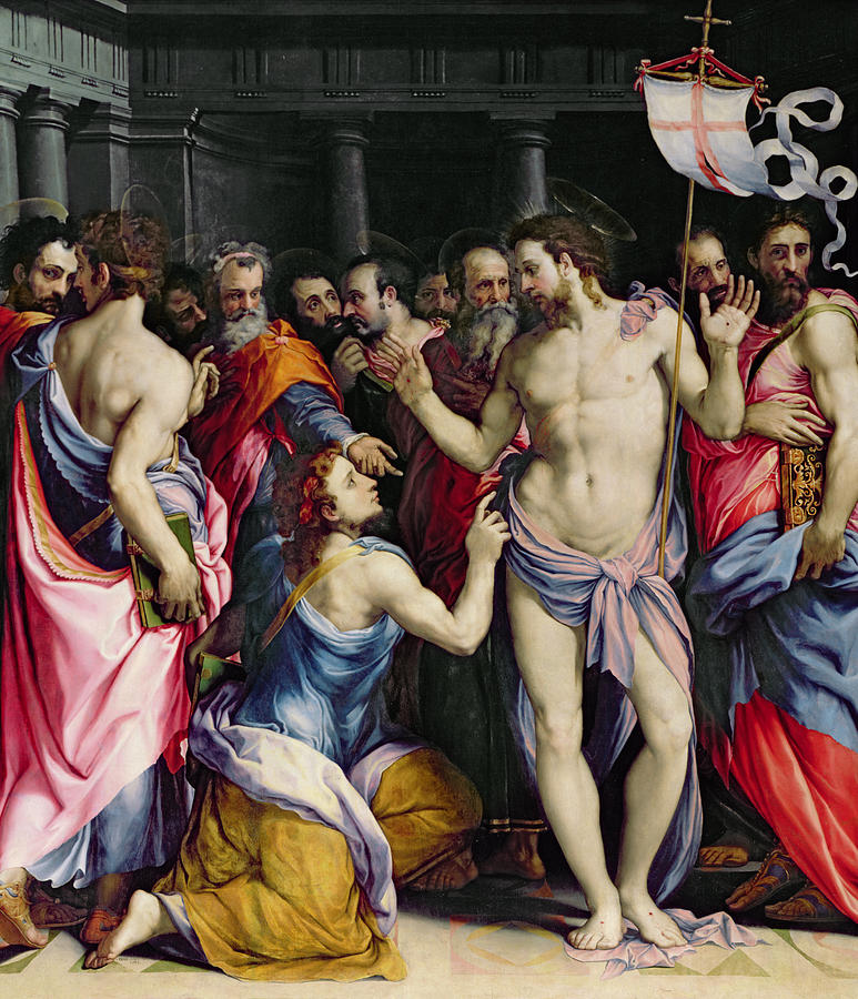 The Incredulity Of Saint Thomas Painting - The Incredulity Of Saint Thomas by Francesco de Rossi Salviati Cecchino