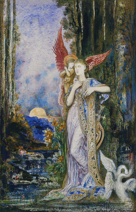 Angels; Moon; Female; Symbolism; Symbolist Painting - The Inspiration  by Gustave Moreau
