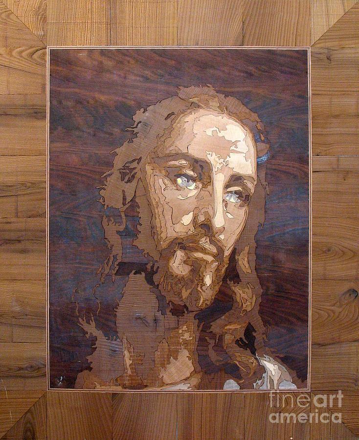 The Jesus Christ Marquetry Wood Work Sculpture