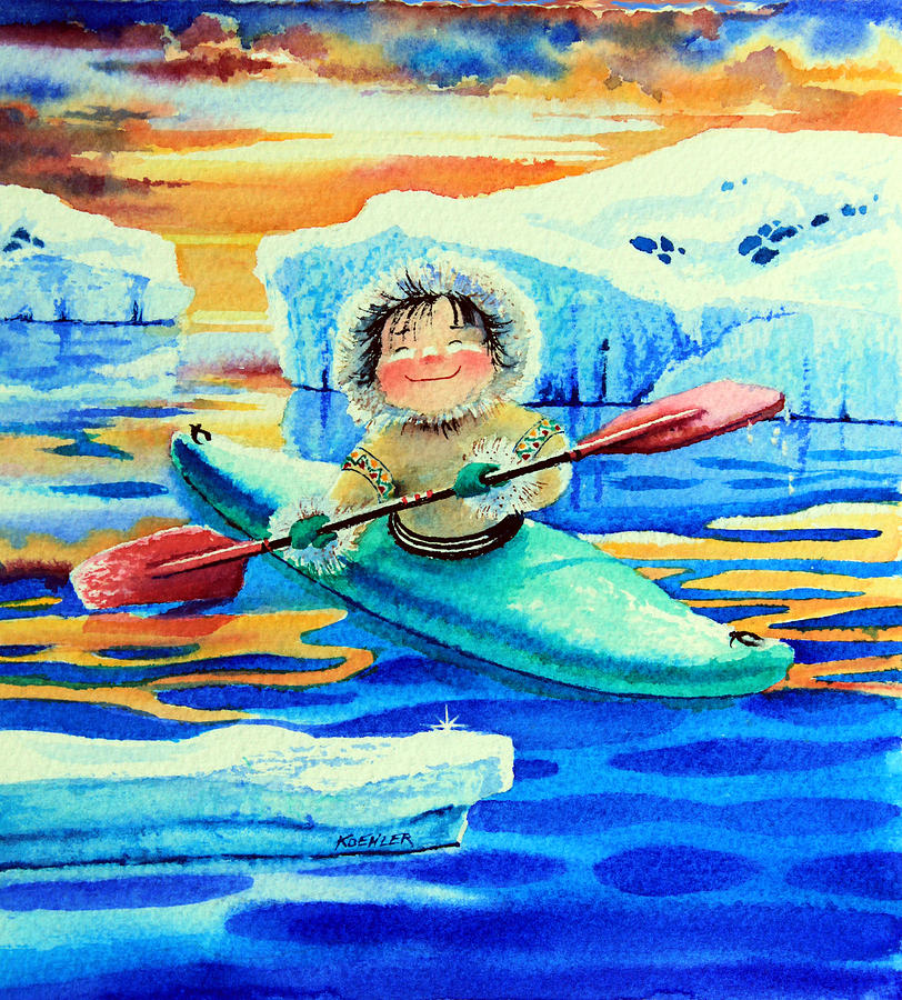 The Kayak Racer Painting  - The Kayak Racer Fine Art Print