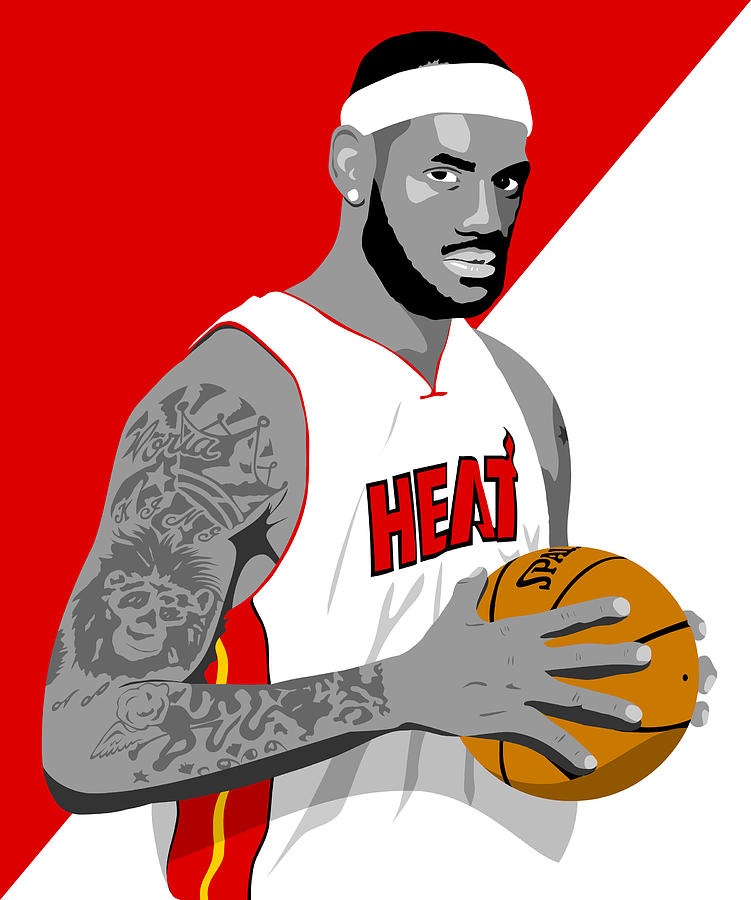Lebron Drawing - The King Lebron James by Paul Dunkel