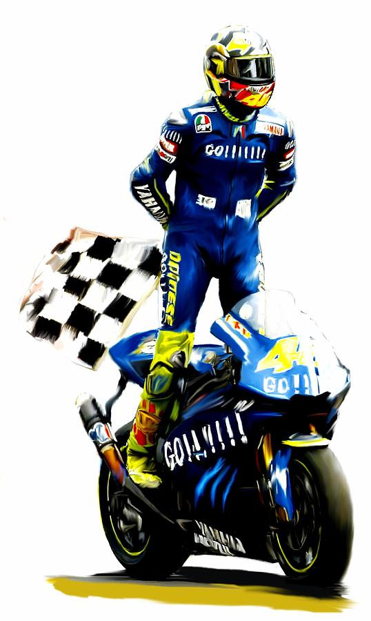 The King  Valentino Rossi  Painting  - The King  Valentino Rossi  Fine Art Print