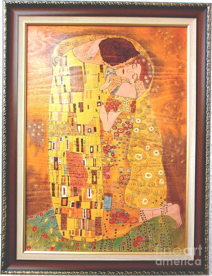 The kiss gustav klimt original fine art painting by for Gustav klimt original paintings for sale