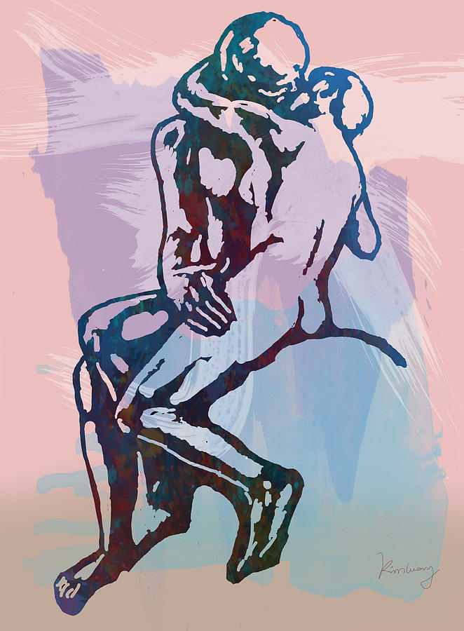The Thinker Is A Bronze Sculpture By Auguste Rodin Drawing - The Kissing - Rodin Stylized Pop Art Poster by Kim Wang