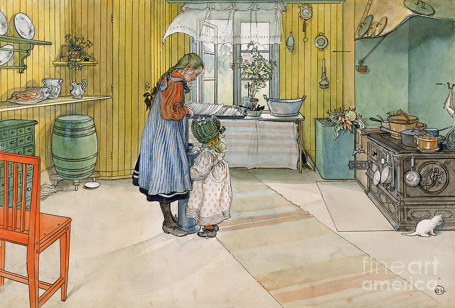 Swedish Interior; Panelled; Panelling; Wall; Cooker; Stove; Aga; Sisters; Sister; Child; Girl; Children; Bonnet; Domestic; Churning Butter; Pinafore; Barrel; Kitten Painting - The Kitchen From A Home Series by Carl Larsson