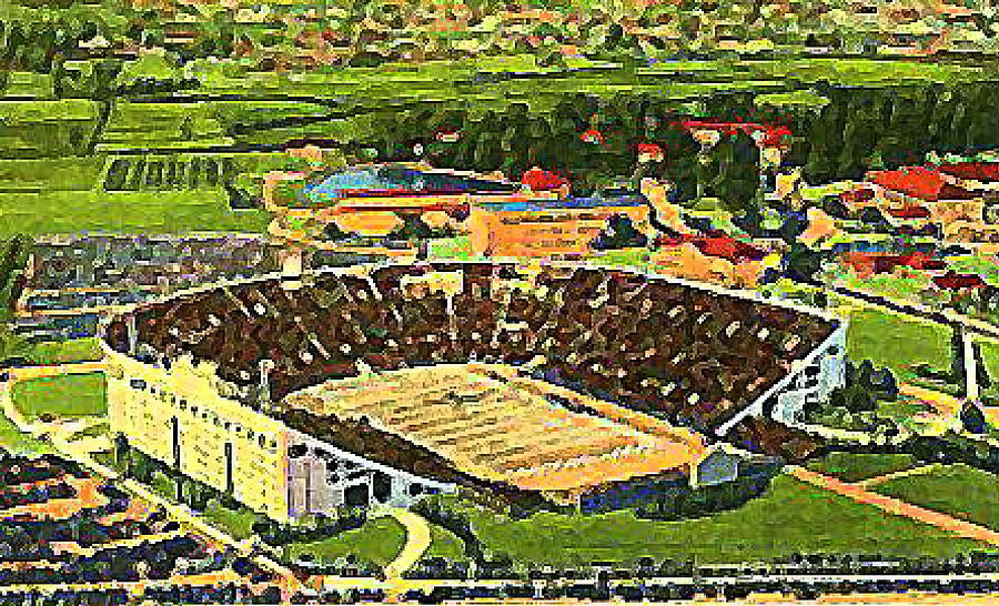 The L S U Stadium In Baton Rouge La Around 1940 Painting  - The L S U Stadium In Baton Rouge La Around 1940 Fine Art Print