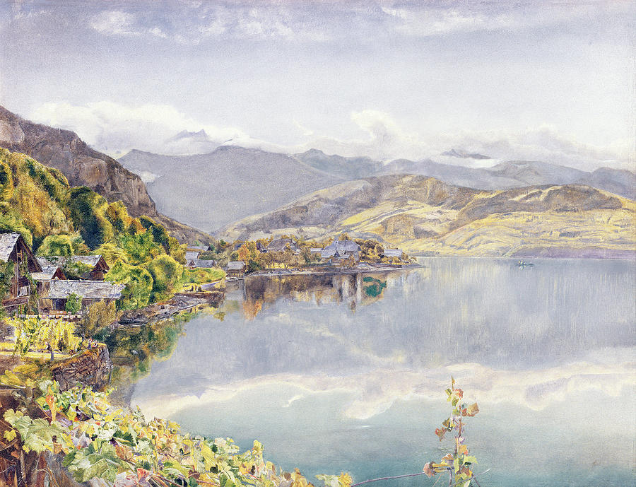 Swiss Landscape Drawing - The Lake Of Lucerne, Mount Pilatus by John William Inchbold