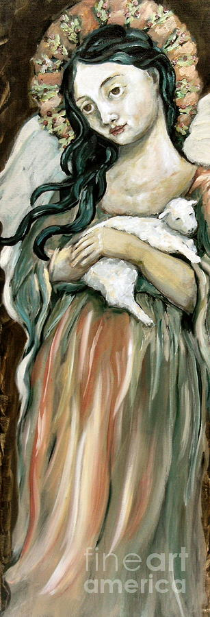 Angel Painting - The Lamb by Carrie Joy Byrnes