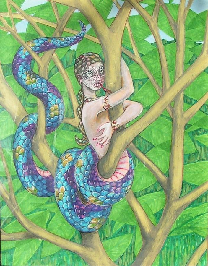 Snake Woman Green Leaves Painting - The Lamia by Maria Elena Gonzalez