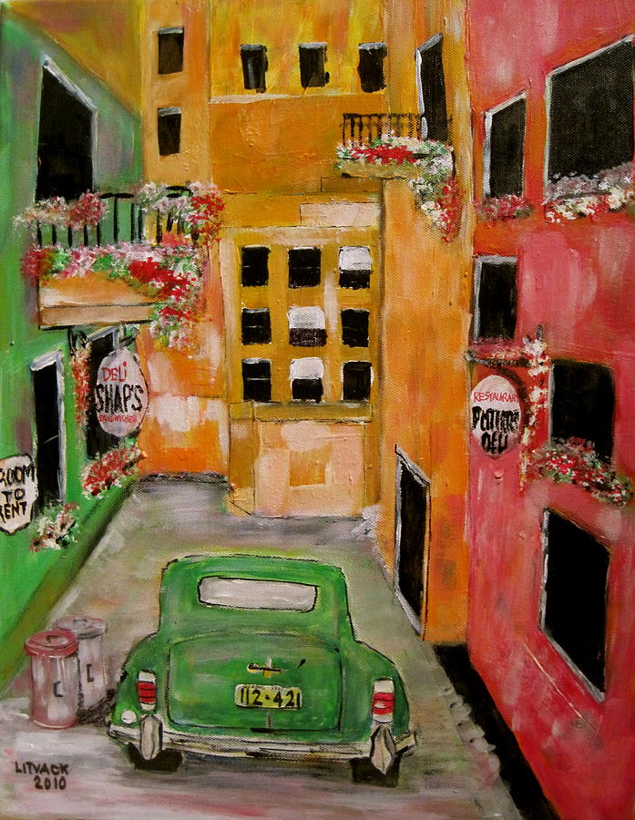 Chrysle Painting - The Laneway Mixed Signals by Michael Litvack