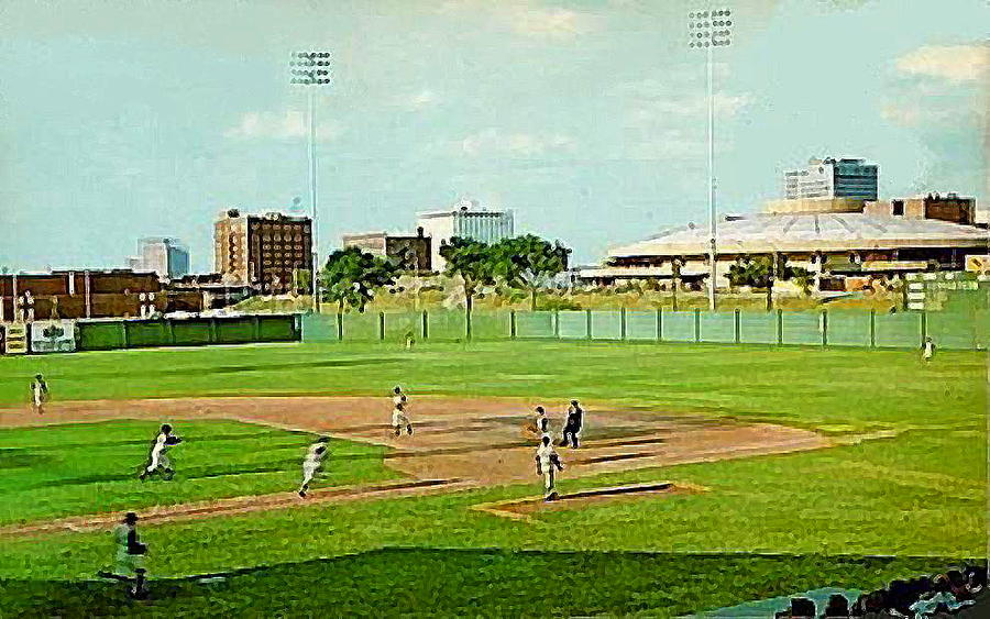 The Lawrence Baseball Stadium In Wichita Ks Around 1920 Painting  - The Lawrence Baseball Stadium In Wichita Ks Around 1920 Fine Art Print