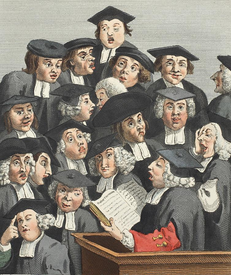 Caricature Drawing - The Lecture, Illustration From Hogarth by William Hogarth