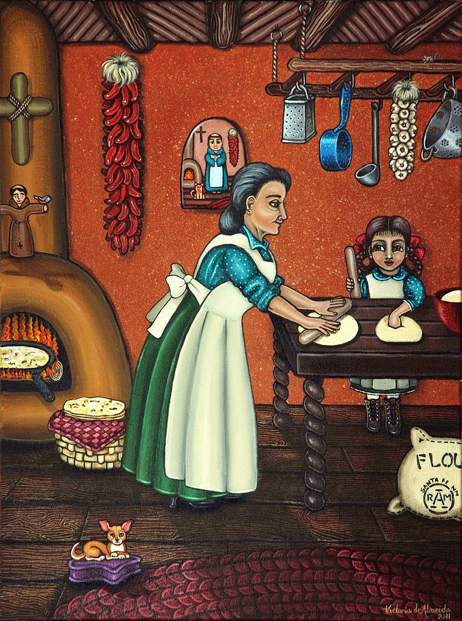 Folk Art Painting - The Lesson Or Making Tortillas by Victoria De Almeida