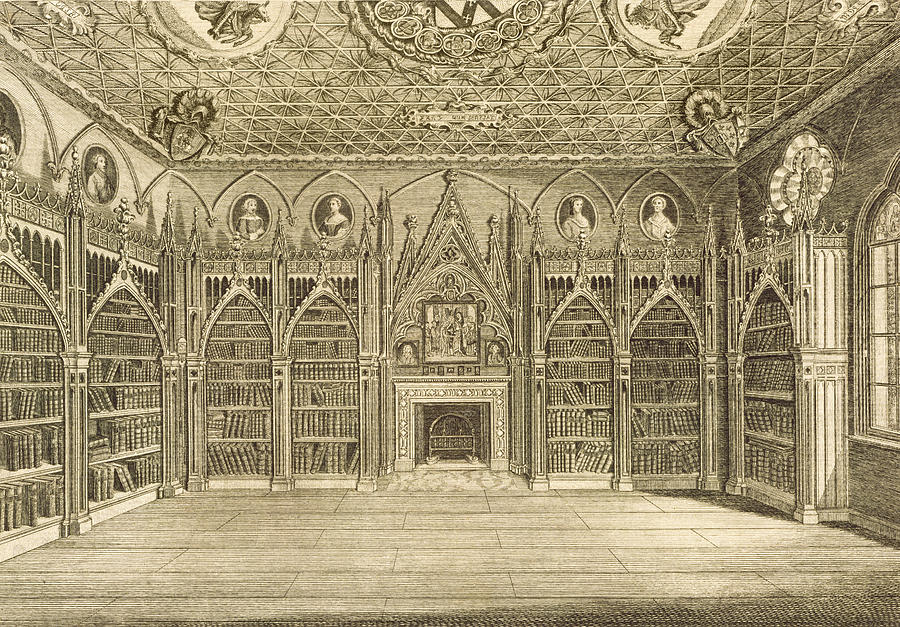 Neo-gothic Drawing - The Library, Engraved By Godfrey by English School