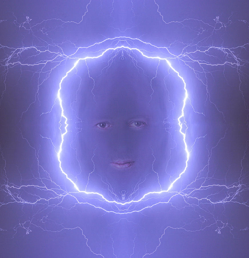 The Lightning Man Blue Photograph  - The Lightning Man Blue Fine Art Print