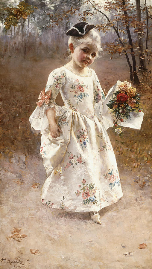 Little; Flower; Girl; Female; Child; Children; Portrait; Standing; Full Length; Young; Youth; Posy; Bouquet; Flower; Flowers; Floral; Silk; Dress; Hat; Walking; Wooded; Landscape; Coquettish; Coy; Woods; Leaves Painting - The Little Flower Girl  by Albert Raudnitz