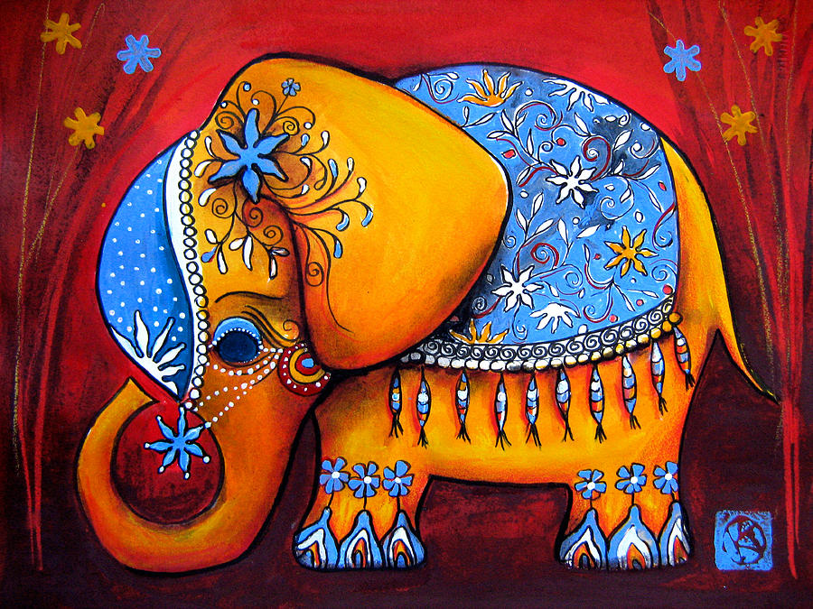Animal Painting - The Littlest Elephant by Karin Taylor