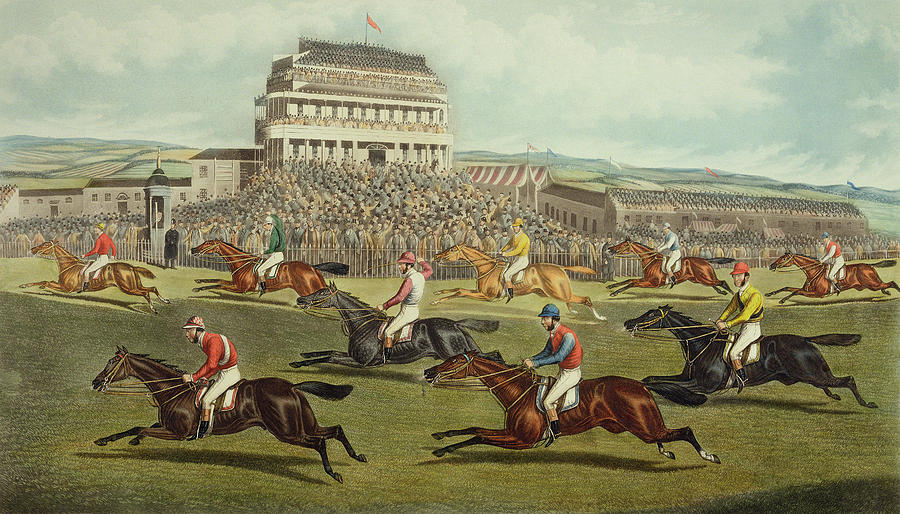 The Liverpool Grand National Steeplechase Coming In Painting