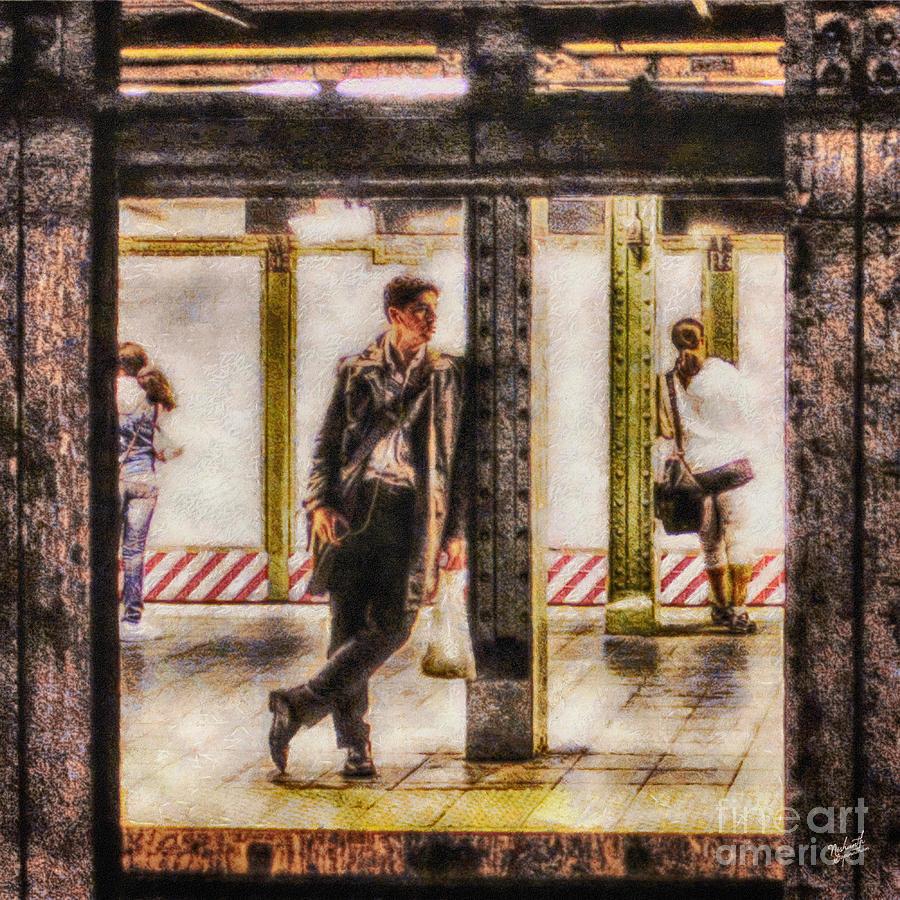 Mta; New York City; Nyc; Trains; Subway; Passengers; Train; Man; Woman; Transport; Metropolitan Transportation Authority; Public Transportation Painting - The Long Wait by Nishanth Gopinathan
