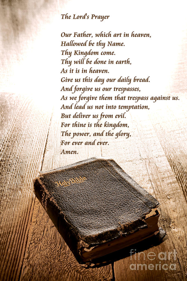 The Lords Prayer And Bible Photograph