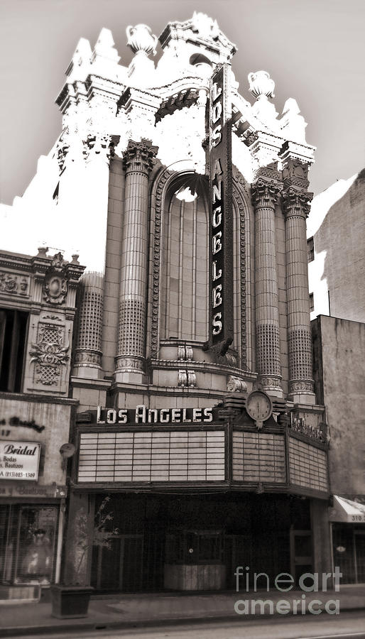 The Los Angeles Theatre - Black And White Photograph
