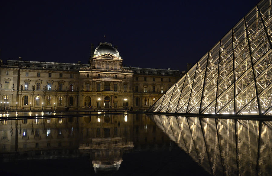 The Louvre Palace And The Pyramid At Night Photograph  - The Louvre Palace And The Pyramid At Night Fine Art Print
