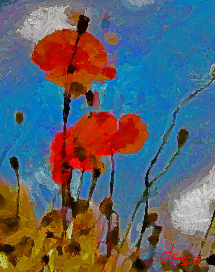 Poppy Digital Art - The Lovely Poppies Tnm by Vincent DiNovici