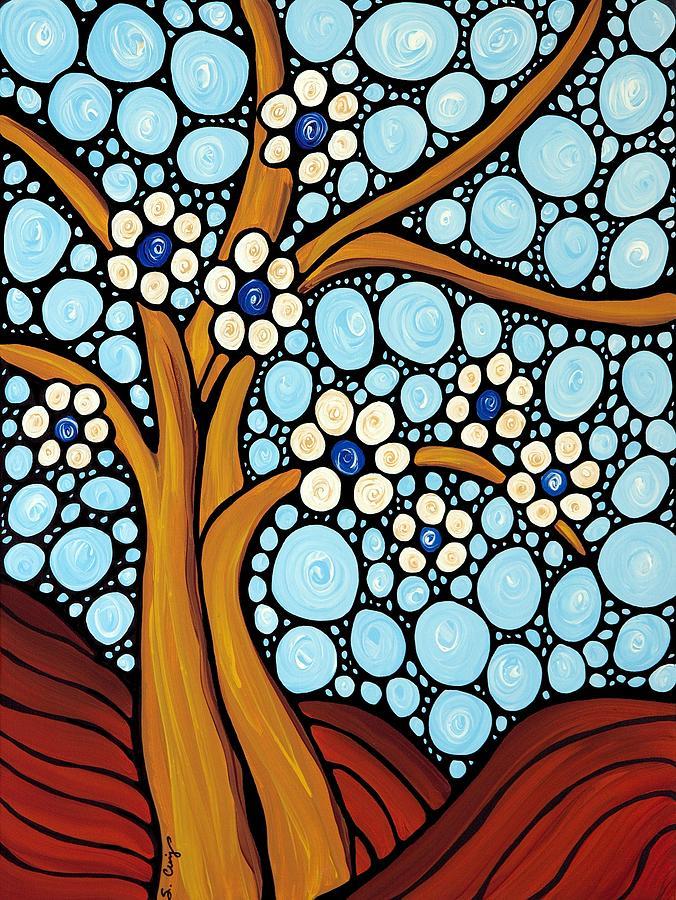 Flower Painting - The Loving Tree by Sharon Cummings