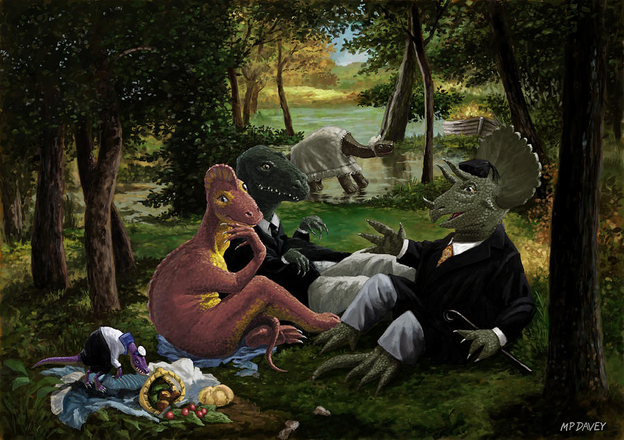 Dinosaur Painting - The Luncheon On The Grass With Dinosaurs by Martin Davey