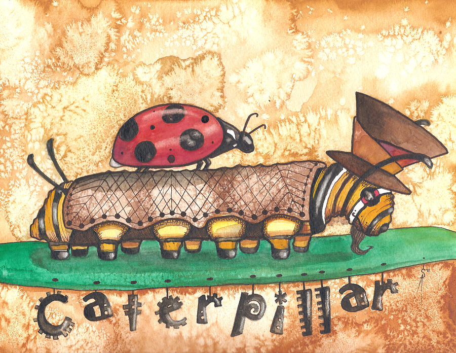 The Mad Caterpillar Painting  - The Mad Caterpillar Fine Art Print