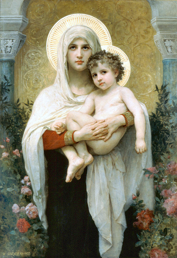 The Madonna Of The Roses Digital Art  - The Madonna Of The Roses Fine Art Print