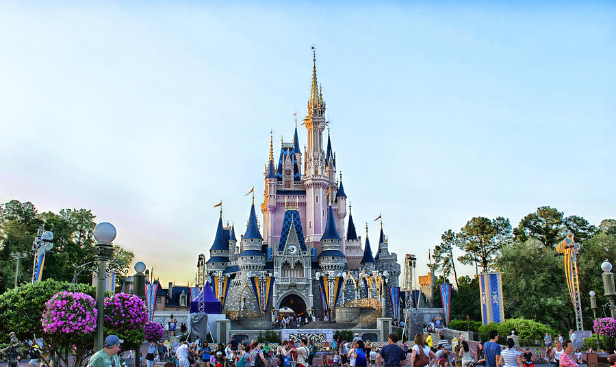 The Magic Kingdom Castle On A Beautiful Summer Day Horizontal Photograph