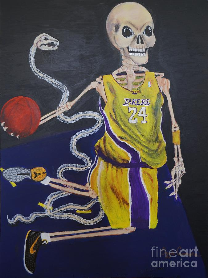 Day Of The Dead Painting - The Mamba Strikes by Visual  Renegade Art