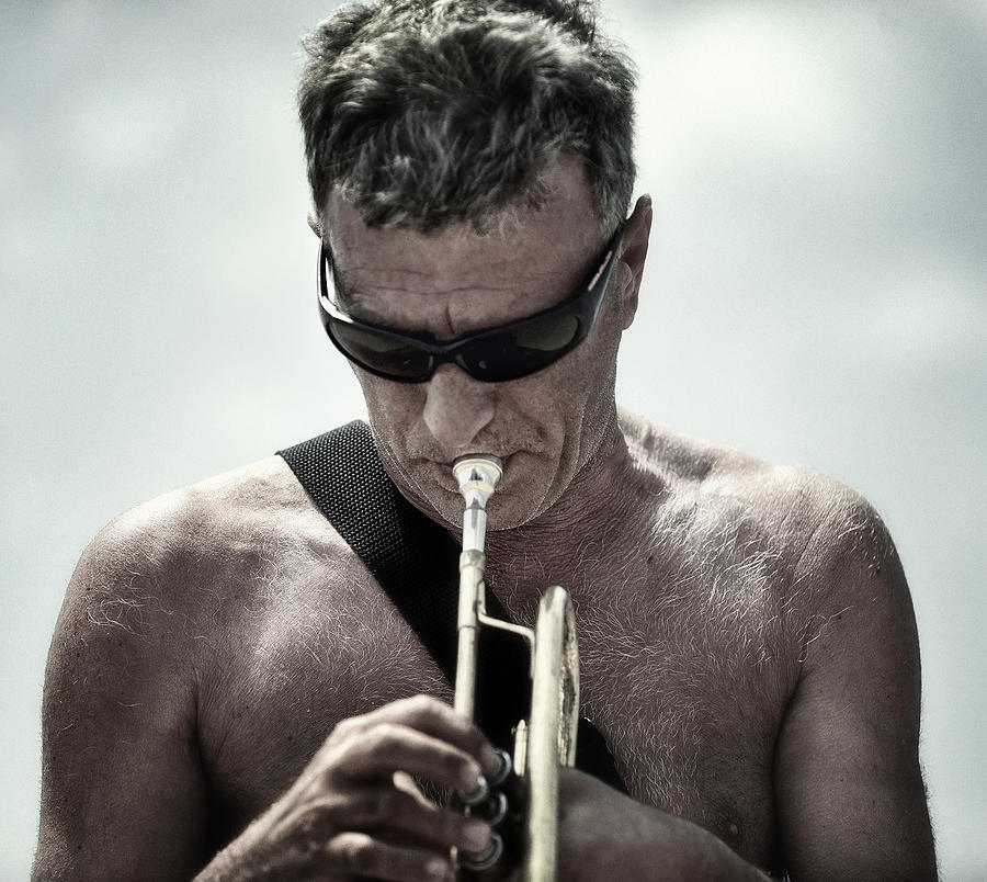 The Man His Trumpet And The Sea Photograph  - The Man His Trumpet And The Sea Fine Art Print