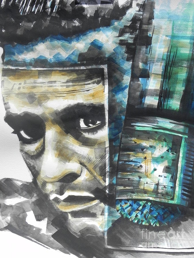 The Man In Black  Singer Johnny Cash Painting