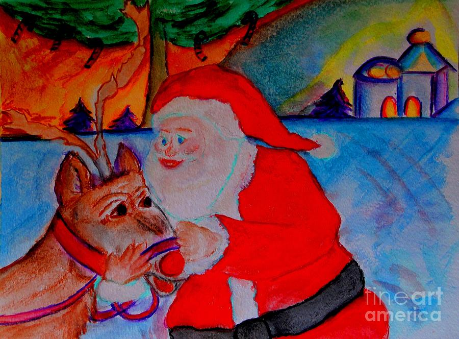 The Man In The Red Suit And A Red Nosed Reindeer Painting