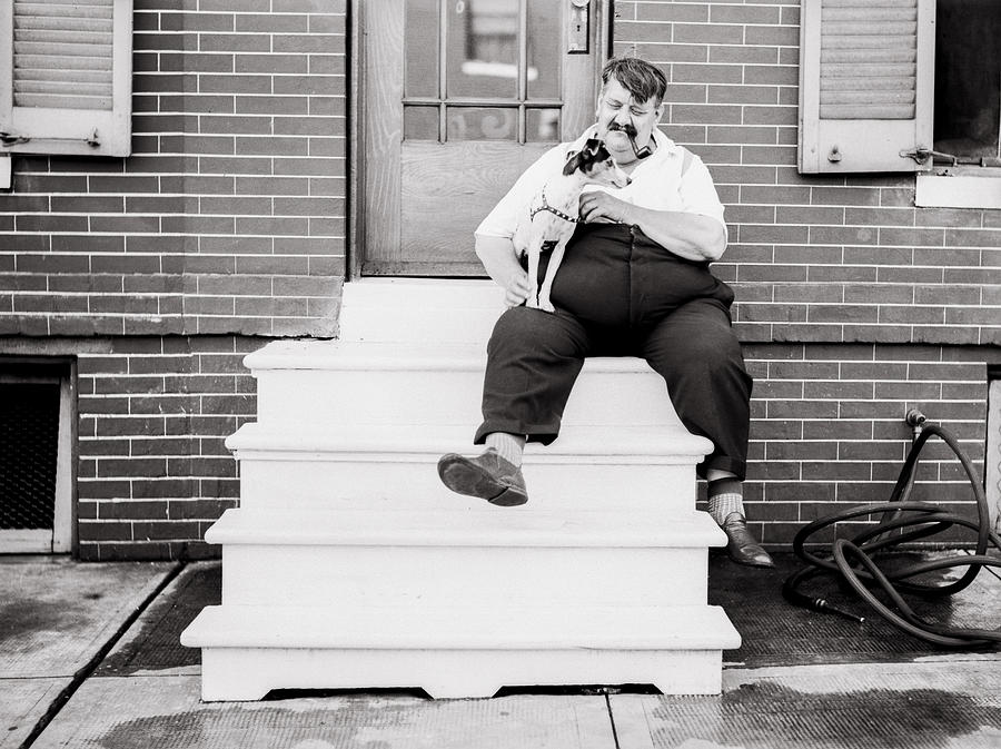 The Man With The Little Dog Circa 1938  Photograph
