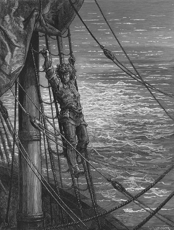 Lonely; Abandoned; Desolate; Sea; Ocean; Dore Drawing - The Mariner Describes To His Listener The Wedding Guest His Feelings Of Loneliness And Desolation  by Gustave Dore