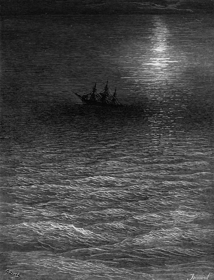 Calm; Moon; Moonlight; Vessel; Becalmed; Dore Drawing - The Marooned Ship In A Moonlit Sea by Gustave Dore