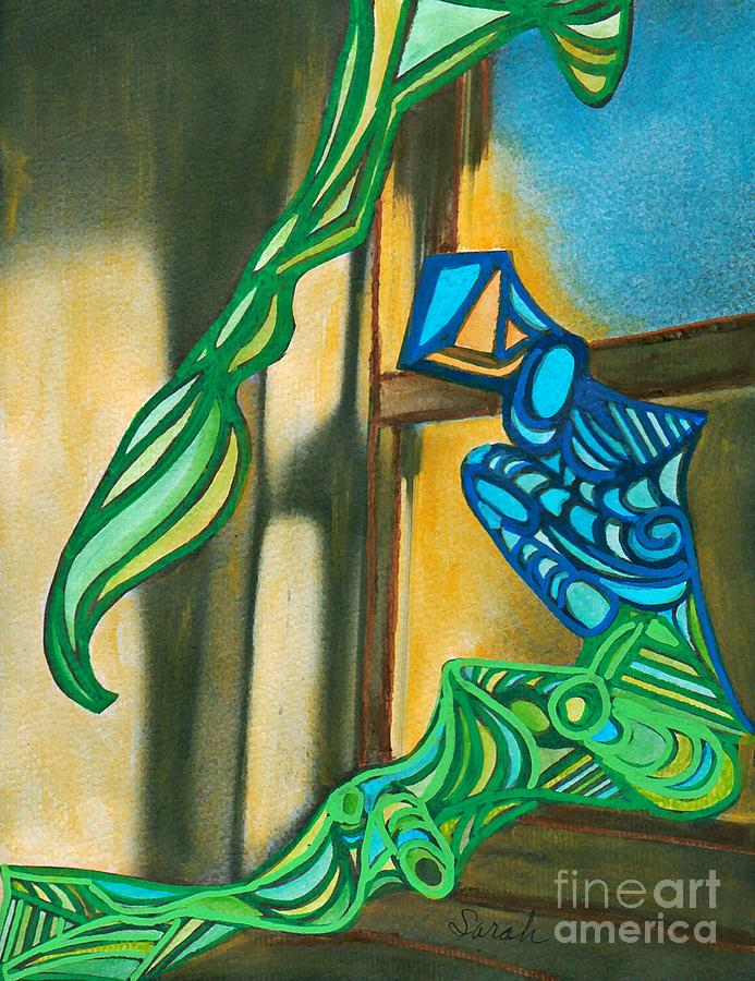 The Mermaid On The Window Sill Mixed Media