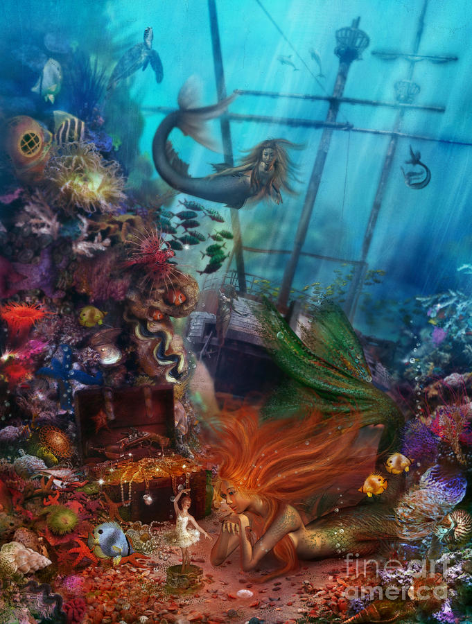 Animal Digital Art - The Mermaids Treasure by Aimee Stewart