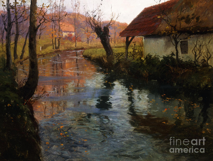 Mill; Stream; River; House; Thatched; Cottage; Bend; Reflection; Reflections; Ripple; Ripples; Water; Autumn; Autumnal; Dusk; Evening; Sunset; Atmospheric; Idyllic; Rural; Countryside; Fall Painting - The Mill Stream by Fritz Thaulow